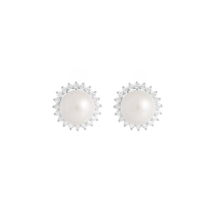 9ct White Gold Dhalia Pearl Diamond Earrings