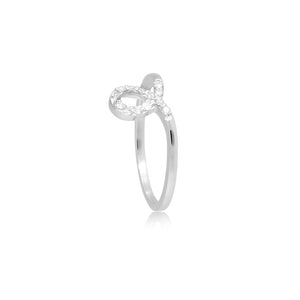 9ct White Gold Knot Diamond Ring