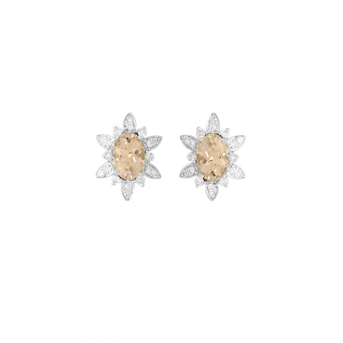 9ct White Gold Fleur Morganite Diamond Earrings