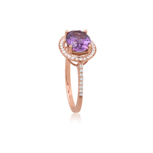 9ct Rose Gold Amethyst Diamond Oval Halo Ring