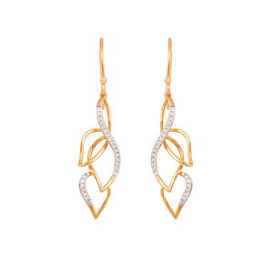 9ct Yellow Gold Leaflet Diamond Drop Earrings