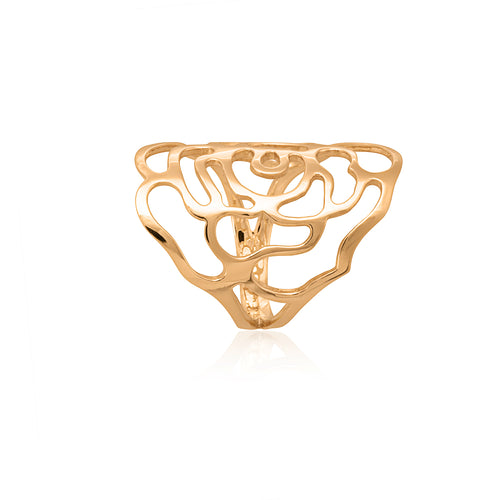 9ct Yellow Gold Flower Cutout Ring