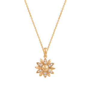 9ct Yellow Gold Dhalia Diamond Pendant