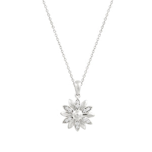 9ct White Gold Dhalia Diamond Pendant