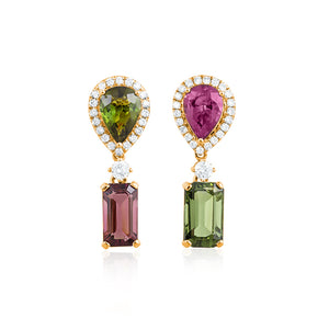 18ct Yellow Gold Siena Tourmaline Diamond Earrings
