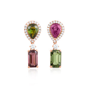 18ct Rose Gold Siena Tourmaline Diamond Earrings