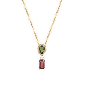 18ct Yellow Gold Diamond & Tourmaline Siena Pendant