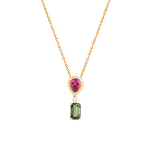 18ct Yellow Gold Tourmaline & Diamond Siena Pendant