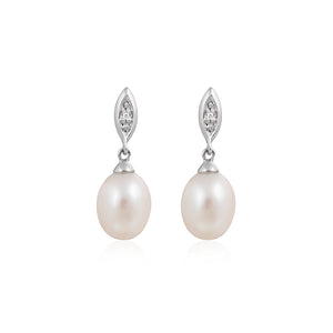 9ct White Gold Bonita Diamond & Pearl Earrings