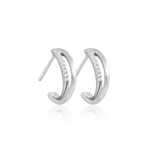 9ct White Gold Faye Diamond Hoop Earrings