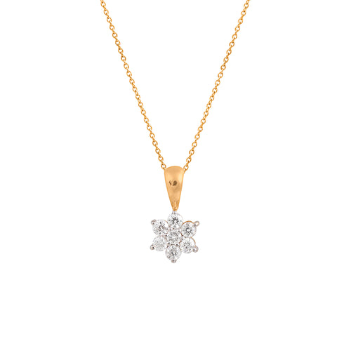 9ct Yellow Gold Petite Lotus Diamond Pendant