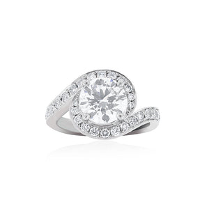 Platinum GIA Certified Diamond Twist Halo Ring