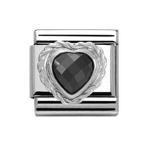 Stainless Steel and Silver with Black Cubic Zirconia Heart Link