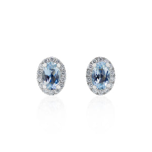 18ct White Gold Aquamarine Diamond Halo Earrings