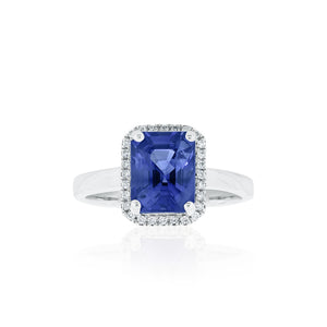 18ct White Gold Sapphire Diamond Ring
