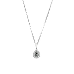 18ct White Gold Black Diamond Halo Pendant