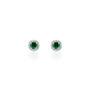 9ct Gold Nola Diamond Stud Earrings - Emerald