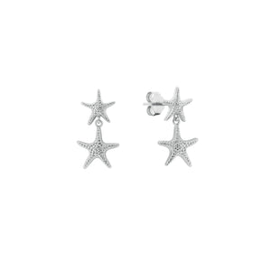 Silver Starfish Drop Earrings