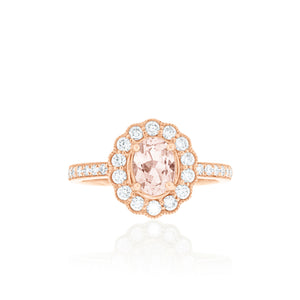 18ct Rose Gold Morganite Diamond Ring