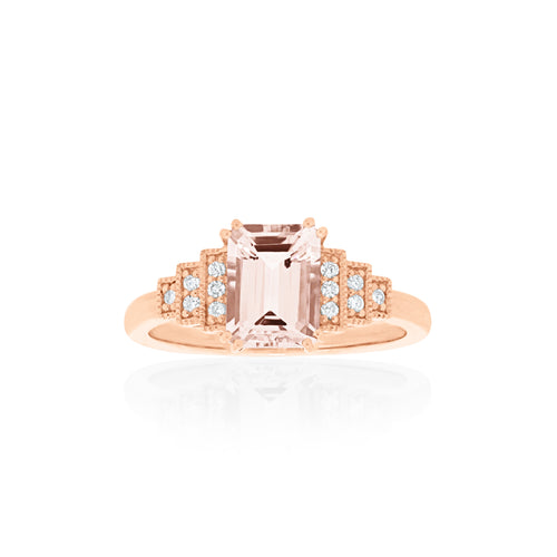 18ct Rose Gold Astra Morganite Diamond Ring