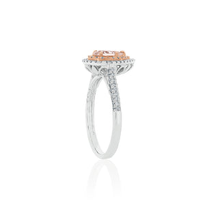 18ct White Gold Vienna Morganite Diamond Ring