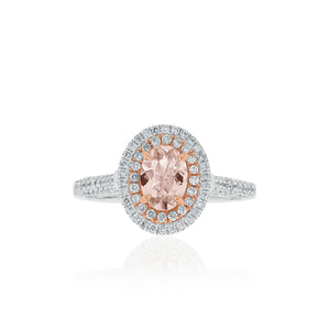 18ct White Gold Emilia Morganite Diamond Ring