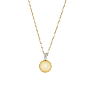 18ct Yellow Gold South Sea Pearl Diamond Pendant (Golden)
