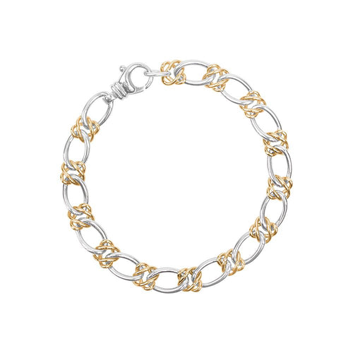 Celtic Weave Oval Curb Bracelet 9ct Yellow Gold / Sterling Silver
