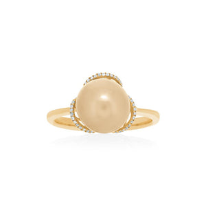 18ct Yellow Gold Golden South Sea Pearl Diamond Ring