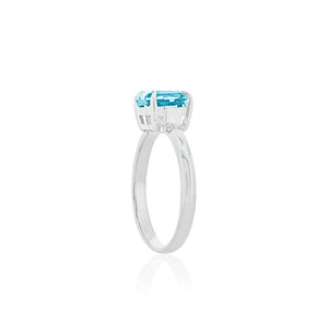 9ct White Gold Blue Topaz Ayelet Ring