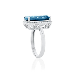 9ct White Gold London Blue Topaz Diamond Halo Ring