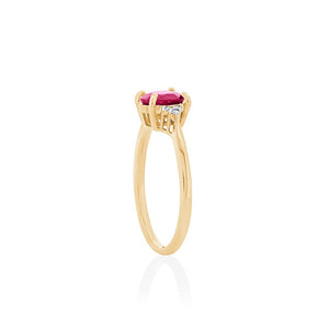 9ct Yellow Gold Nora Ruby Diamond Ring