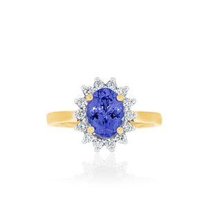 18ct Yellow Gold Tanzanite Diamond Ring