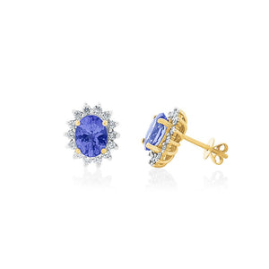 18ct Yellow Gold Tanzanite Bexley Stud Earrings