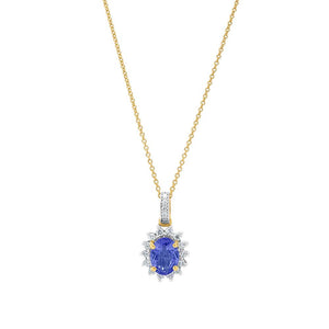 18ct Yellow Gold Adele Tanzanite Diamond Pendant