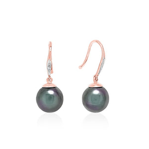 18ct White Gold Black Pearl Diamond Hook Earrings