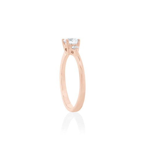 18ct Rose Gold Elora Diamond Trilogy Ring