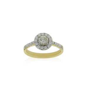 9ct Yellow Gold Diamond Halo Ring