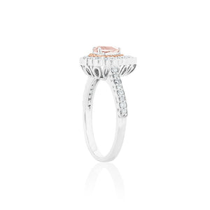18ct White Gold Sylvia Morganite Diamond Ring