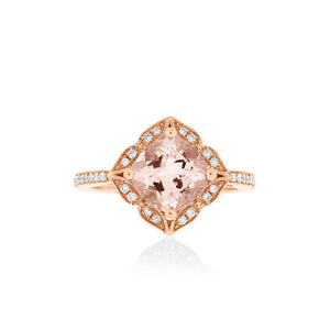 18ct Rose Gold Josette Morganite Diamond Ring