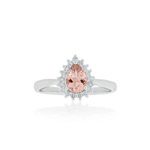 18ct White Gold Primrose Morganite Diamond Ring