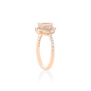 18ct Rose Gold Maura Morganite Diamond Halo Ring
