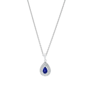 18ct White Gold Sapphire Diamond Halo Pendant