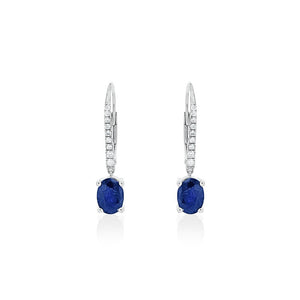 18ct White Gold Sapphire Diamond Drop Earrings