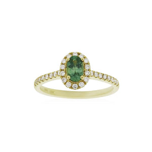 18ct Yellow Gold Amelia Montana Sapphire Diamond Ring