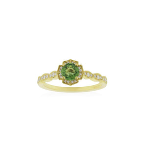 18ct Yellow Gold Rosalia Green Sapphire Diamond Ring
