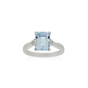 18ct White Gold Mila Aquamarine Diamond Ring