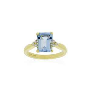18ct Gold Mila Aquamarine Diamond Ring