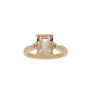 18ct Rose Gold Mila Morganite Diamond Ring