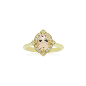 18ct Gold Marley Morganite Diamond Ring